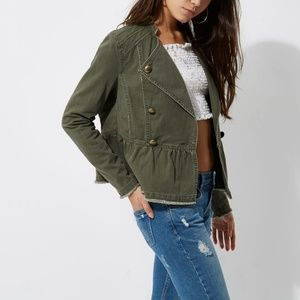 River Island Khaki Green Distressed Military Jacke